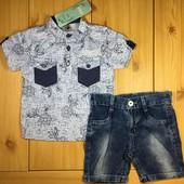 Стильный детский костюм рр. 80-104 для мальчика джинсовые шорты и рубашка Beebaby (Бибеби)
