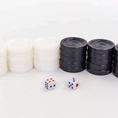 Запасные фигурки для шашек 7821: пластик, d шашки 3см + 2 кубика кости