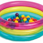 Детский надувной бассейн надувное дно с шариками Intex 48674