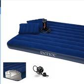 Кровать велюр  68765   син., с подушками - 2 шт (43*28*9см), с руч.насосом - 68612, в кор. 152*2