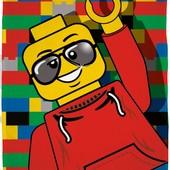 Детский флисовый плед покрывало Lego Лего Человечек 120х150 см для мальчика