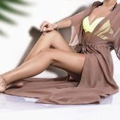 Женский пляжный шифоновый халат длинный