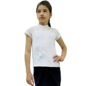 Блуза для девочек + вышивка,  интерлок отбеленый + гипюр