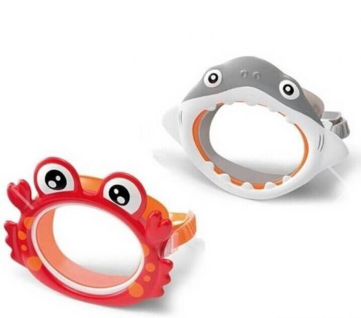 Маска для плавания детская intex для бассейна набор+ трубка акула краб жаба фото №1