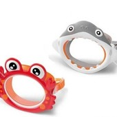 Маска для плавания детская Intex для бассейна набор+ трубка Акула Краб Жаба