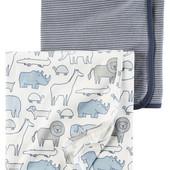 Комплект пеленальных одеял пеленок для мальчика Carters сафари