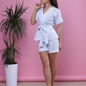 Женский летний костюм с шортами клетка и полоска