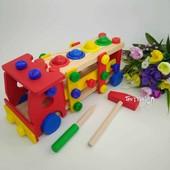 Деревянная игрушка сортер машинка с молоточком и отверткой - большая