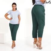 Женские укороченные брюки капри из натуральной ткани 50-52 54-56