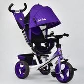 Велосипед 6570 3-х колёсный Best Trike фиолетовый,переднее 12 дюймов d 28см, заднее 10 дюймов d 24см
