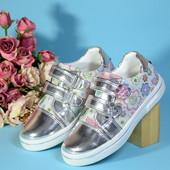бесплатная пересылка шикарные серебристые кроссовки закрытые туфли туфельки на девочку р. 31 19,5см