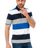 мужское синее поло LC Waikiki / Лс Вайкики в бело-серые полоски