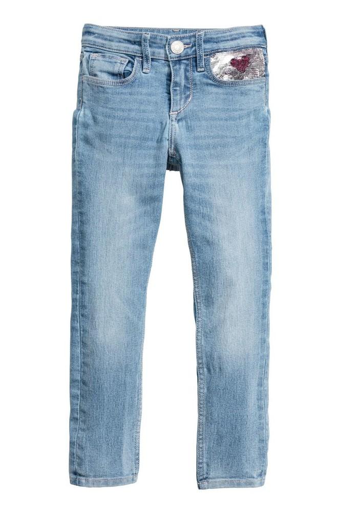 Стильные джинсы с пайетками h&m для маленькой модницы р 128, 7-8 лет. фото №1