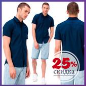 мужская рубашка LC Waikiki синего цвета с коротким рукавом