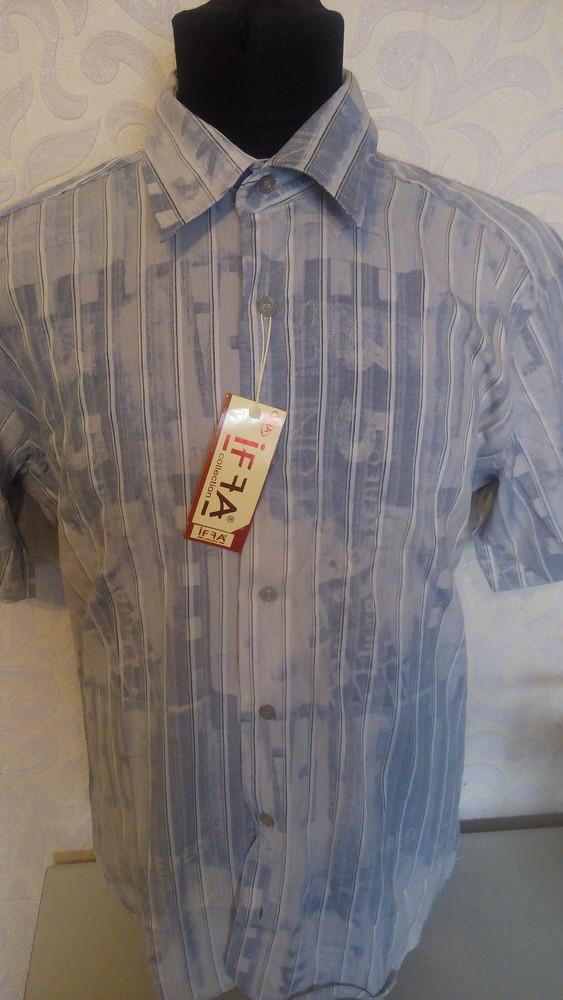 Мужская рубашка,шведка с коротким рукавом производство турция. бренд  iffa фото №1