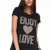 черная женская футболка De Facto / Де Факто с надписью enjoy love