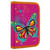 Яркий, качественный каркасный школьный пенал с бабочкой