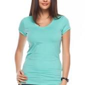 голубая женская футболка De Facto / Де Факто с V-образным вырезом