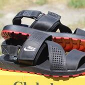 Мужские кожаные сандалии-шлепанцы Nike Summer Nubuck Black