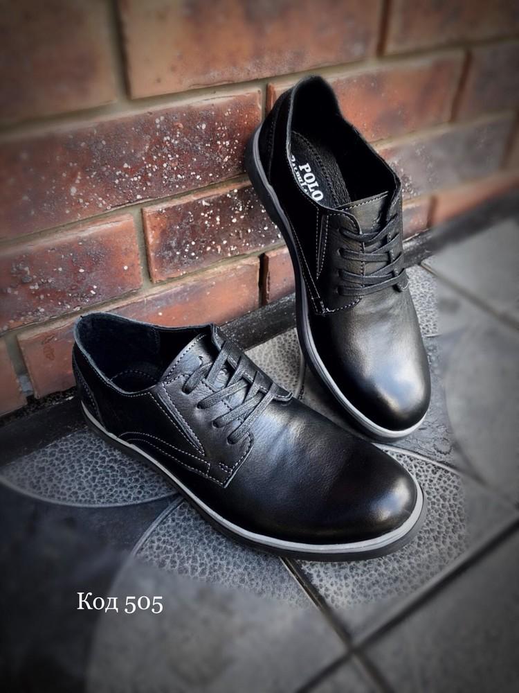 Туфли класика черные мужские polo кожа фото №1
