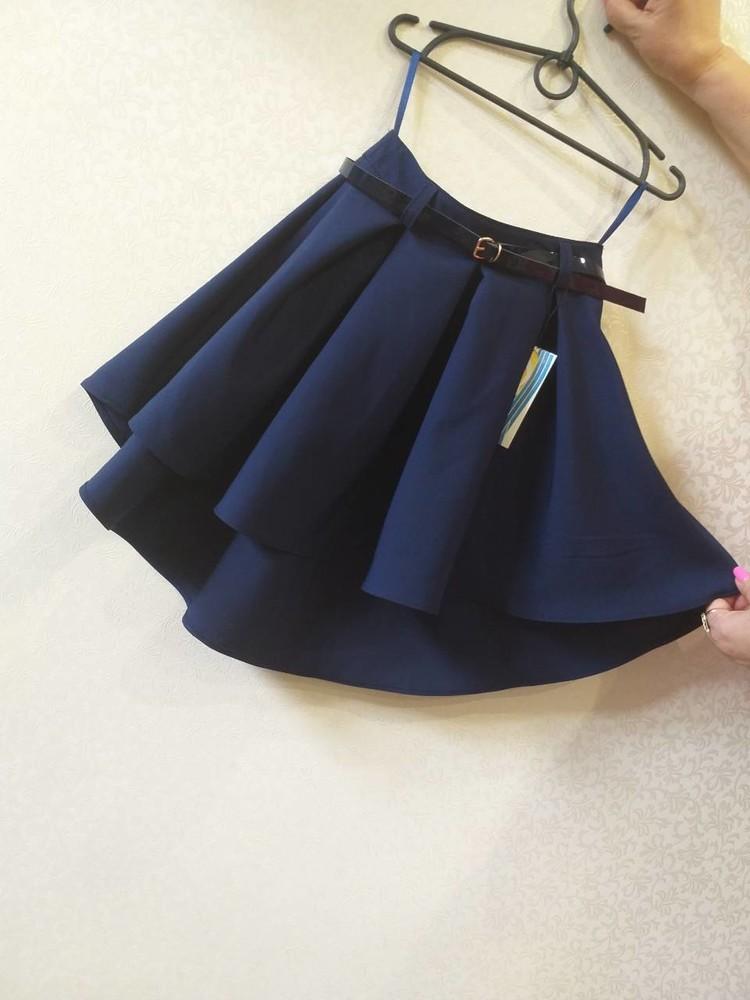 Школьная юбка ассиметрия в ассортименте 128-152 фото №1