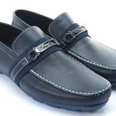 темно-синие мокасины с пряжкой BFG Moda.shoes- 030. фирменная Турция