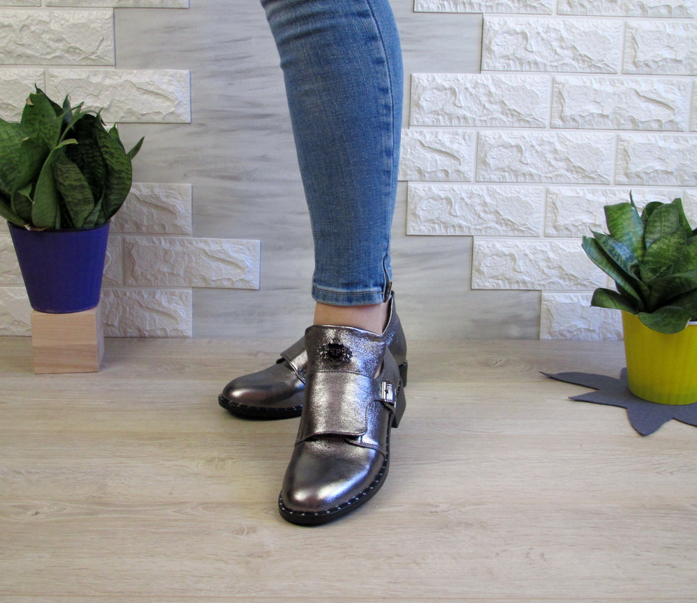 Обалденные женские кожаные туфли на низком ходу фото №1