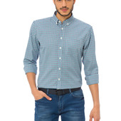 мужская рубашка белая LC Waikiki в сине-голубую полоску с карманом на груди