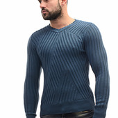 №161 Модный мужской свитер оригинальной вязки