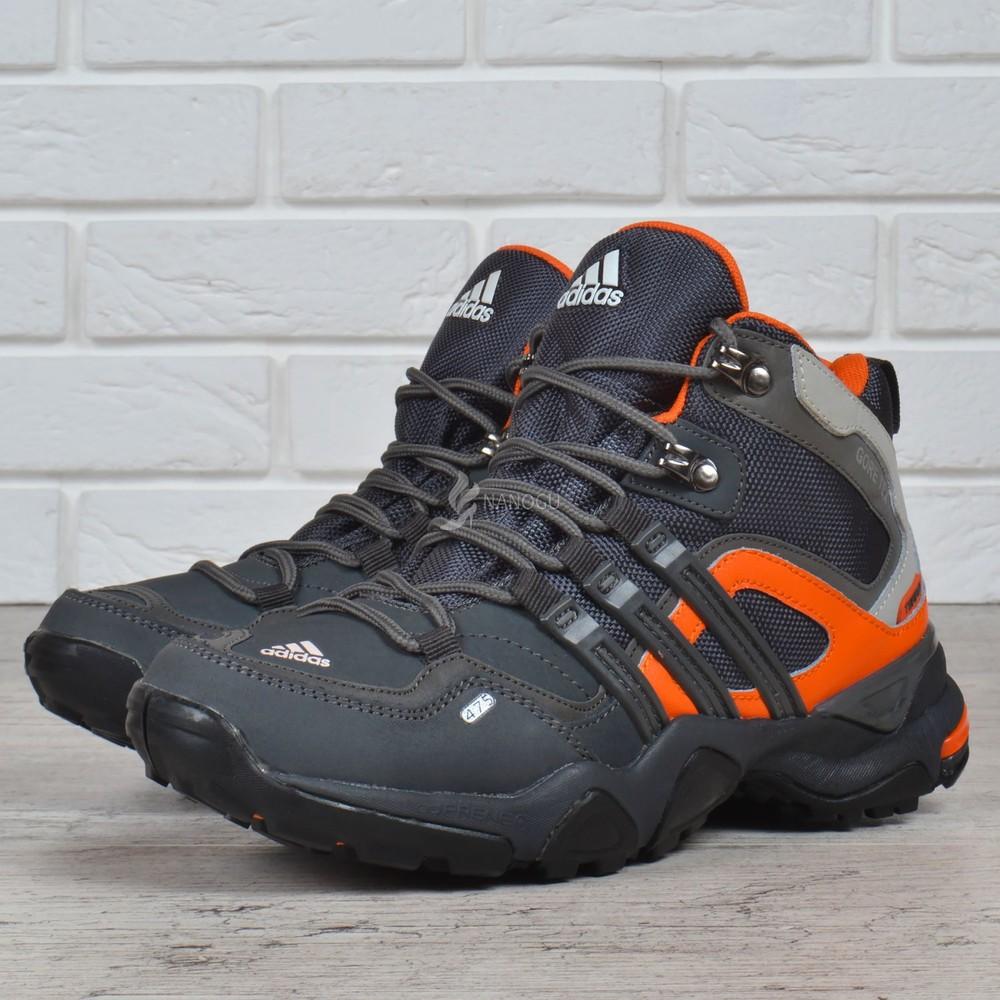 Термо кроссовки кожаные adidas gore tex terrex мембранные серые с оранжевым фото №1