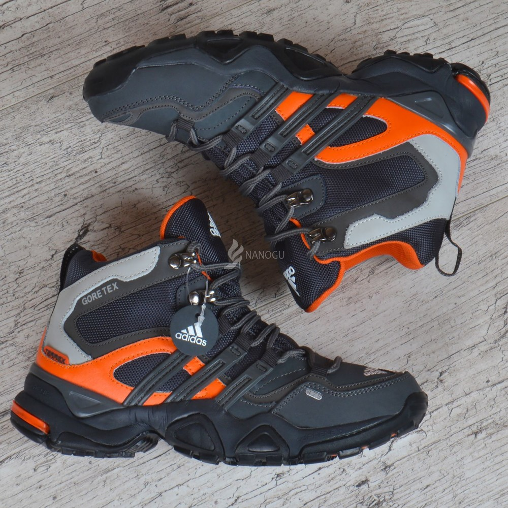 Термо кроссовки кожаные adidas gore tex terrex мембранные серые с оранжевым фото №3