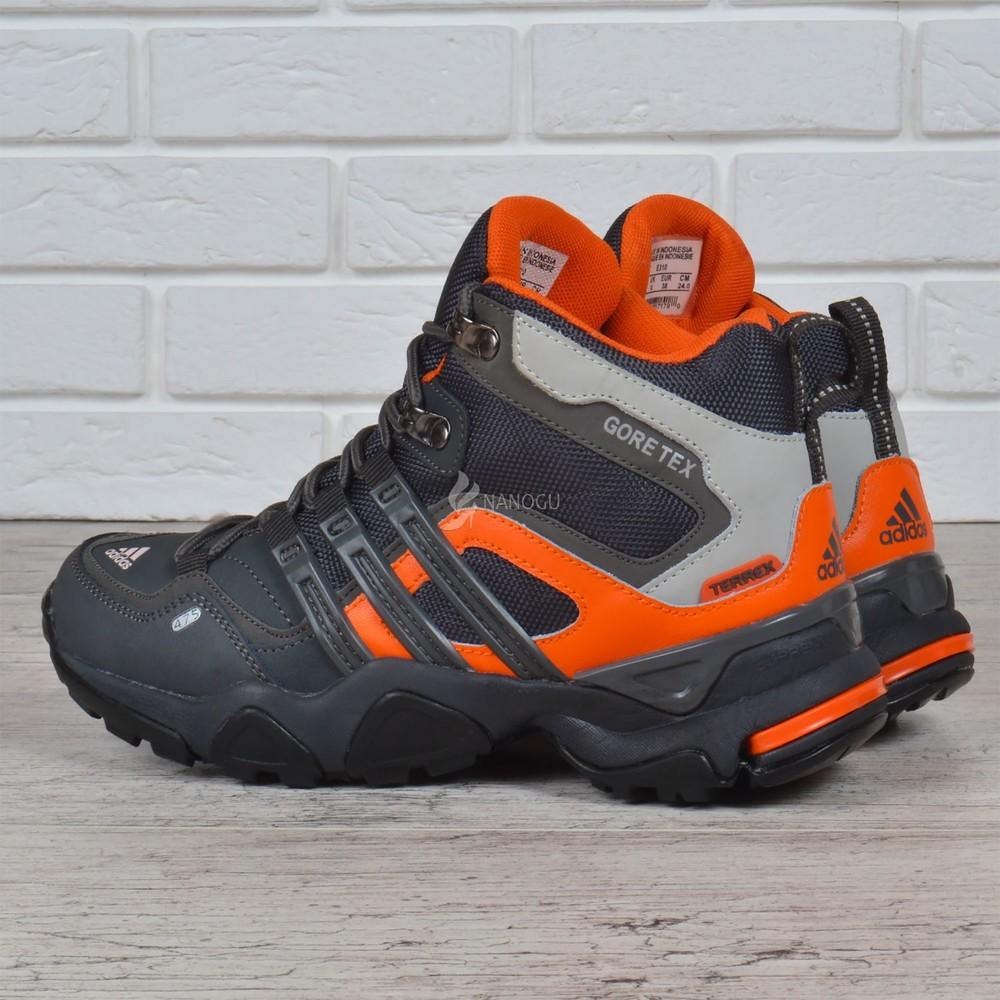 Термо кроссовки кожаные adidas gore tex terrex мембранные серые с оранжевым фото №4