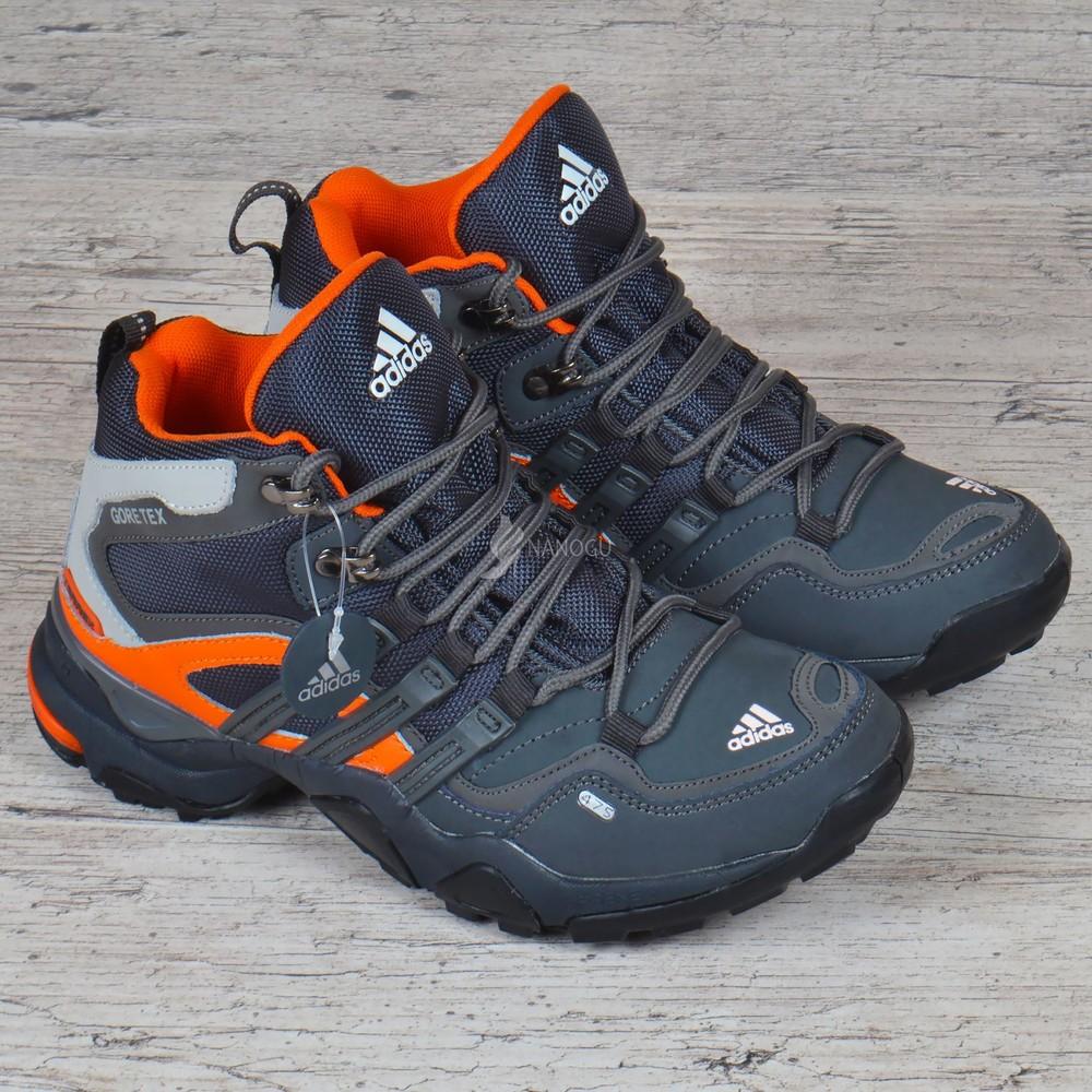 Термо кроссовки кожаные adidas gore tex terrex мембранные серые с оранжевым фото №5