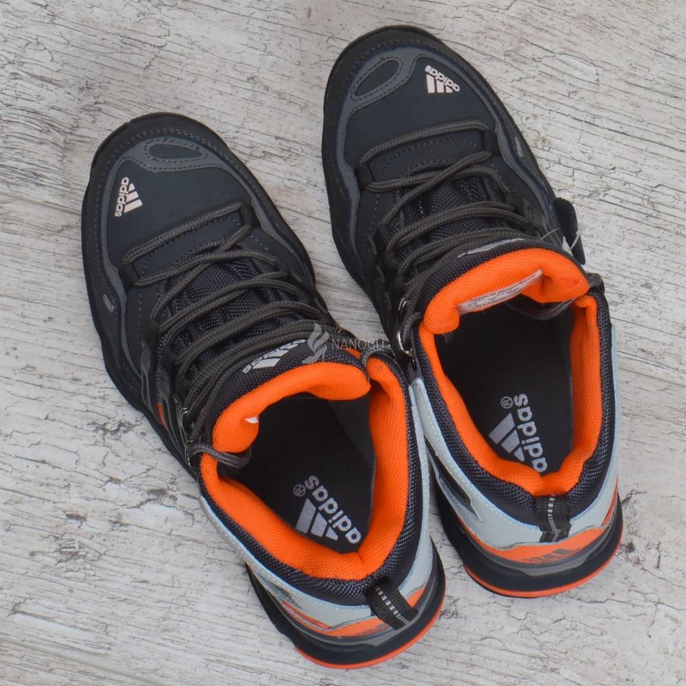 Термо кроссовки кожаные adidas gore tex terrex мембранные серые с оранжевым фото №6