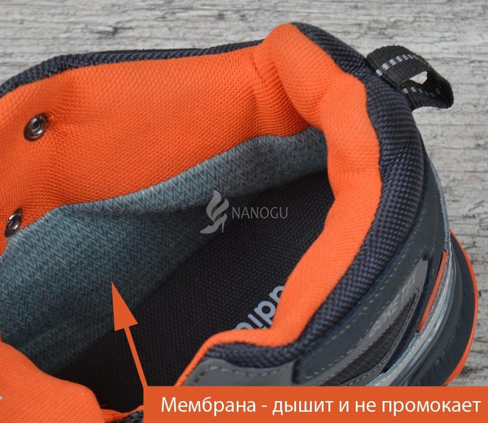 Термо кроссовки кожаные adidas gore tex terrex мембранные серые с оранжевым фото №7