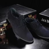 Мужские замшевые классические синие туфли, код gavk-343-1