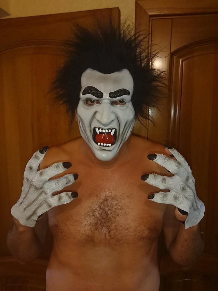 Комплект маска и перчатки монстр чудовище на хеллоуин взрослому и ребенку фото №1