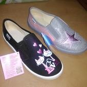 Текстильные балетки 30-36 р Waldi на девочку, валди, тапочки, тапки, туфли, туфлі, мокасины, слипоны