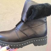 Женские кожаные ботинки, осень/зима, 2 цвета