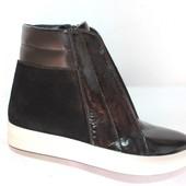 Женские ботинки, замша+лак, осень/зима