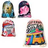 Стильные детские сумки для сменной обуви на затяжке  размер 43*34 см