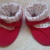 Текстильные пинетки с носочками на 12- 18 месяцев, подошва 12,4 см.