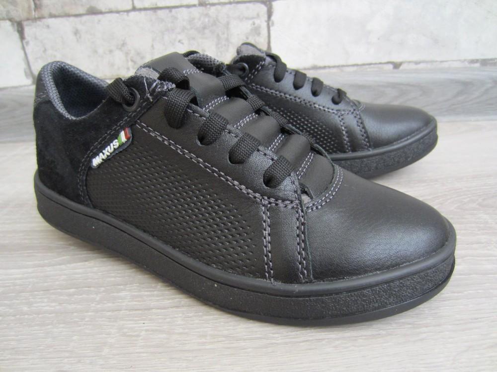Кожаные черные комфортные туфли на скрытой шнуровке 32-39 р фото №1
