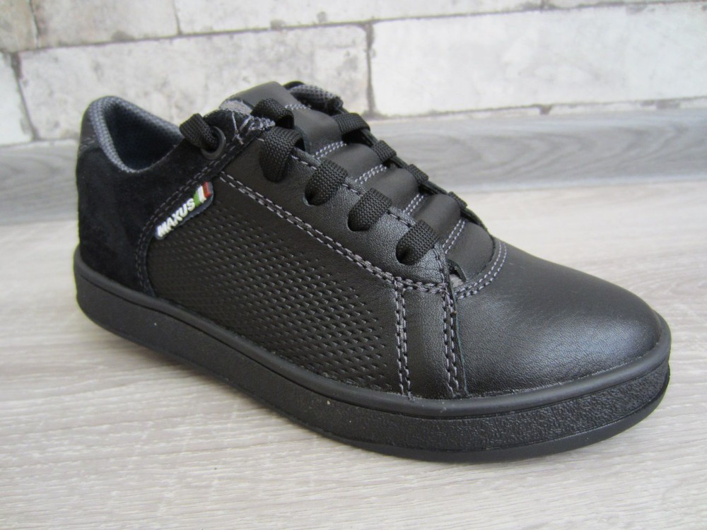 Кожаные черные комфортные туфли на скрытой шнуровке 32-39 р фото №2
