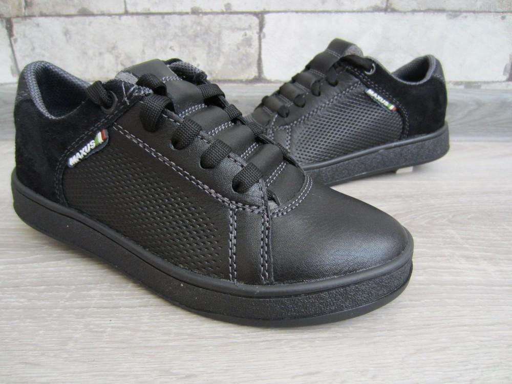 Кожаные черные комфортные туфли на скрытой шнуровке 32-39 р фото №3