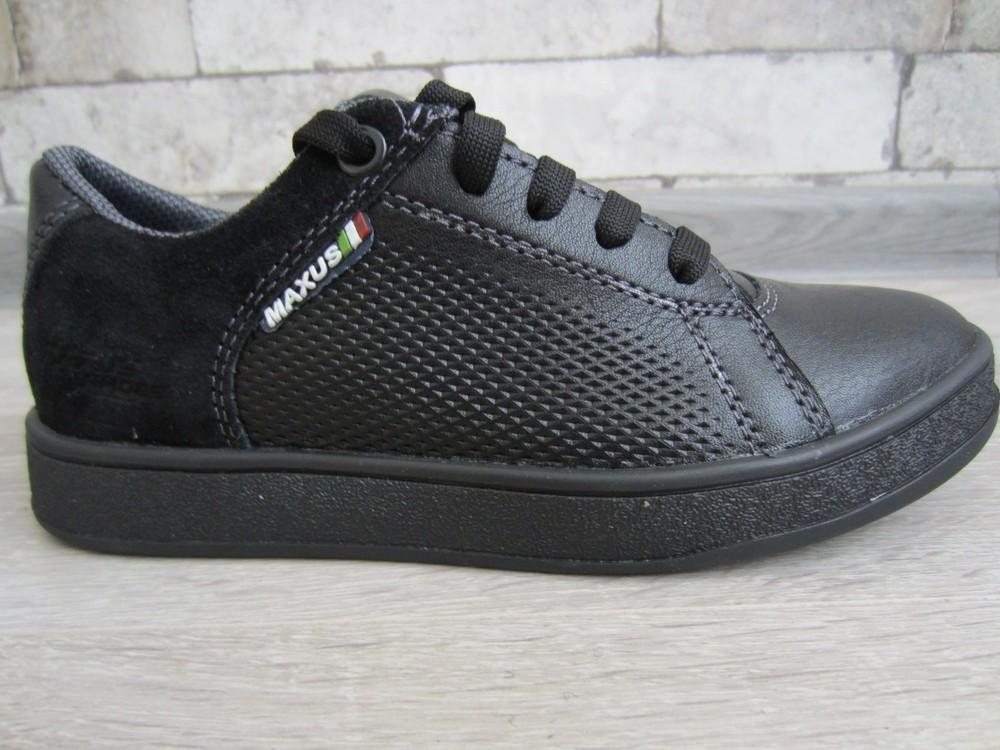 Кожаные черные комфортные туфли на скрытой шнуровке 32-39 р фото №4