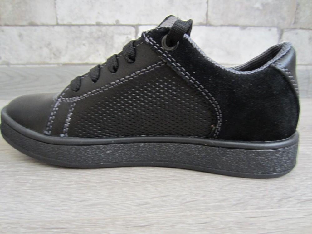 Кожаные черные комфортные туфли на скрытой шнуровке 32-39 р фото №6