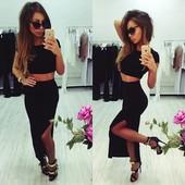 Черный костюм топ и юбка с разрезом удлиненная
