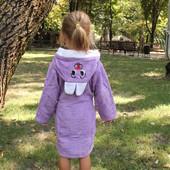 Детский махровый халат Зайчик 1-12 лет ОПТ и розница сиреневый