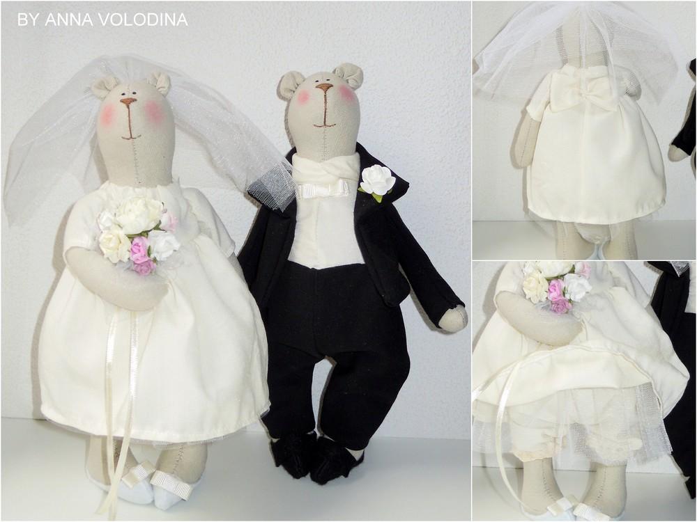 Жених и невеста - интерьерные игрушки мишки по мотивам тильда фото №1
